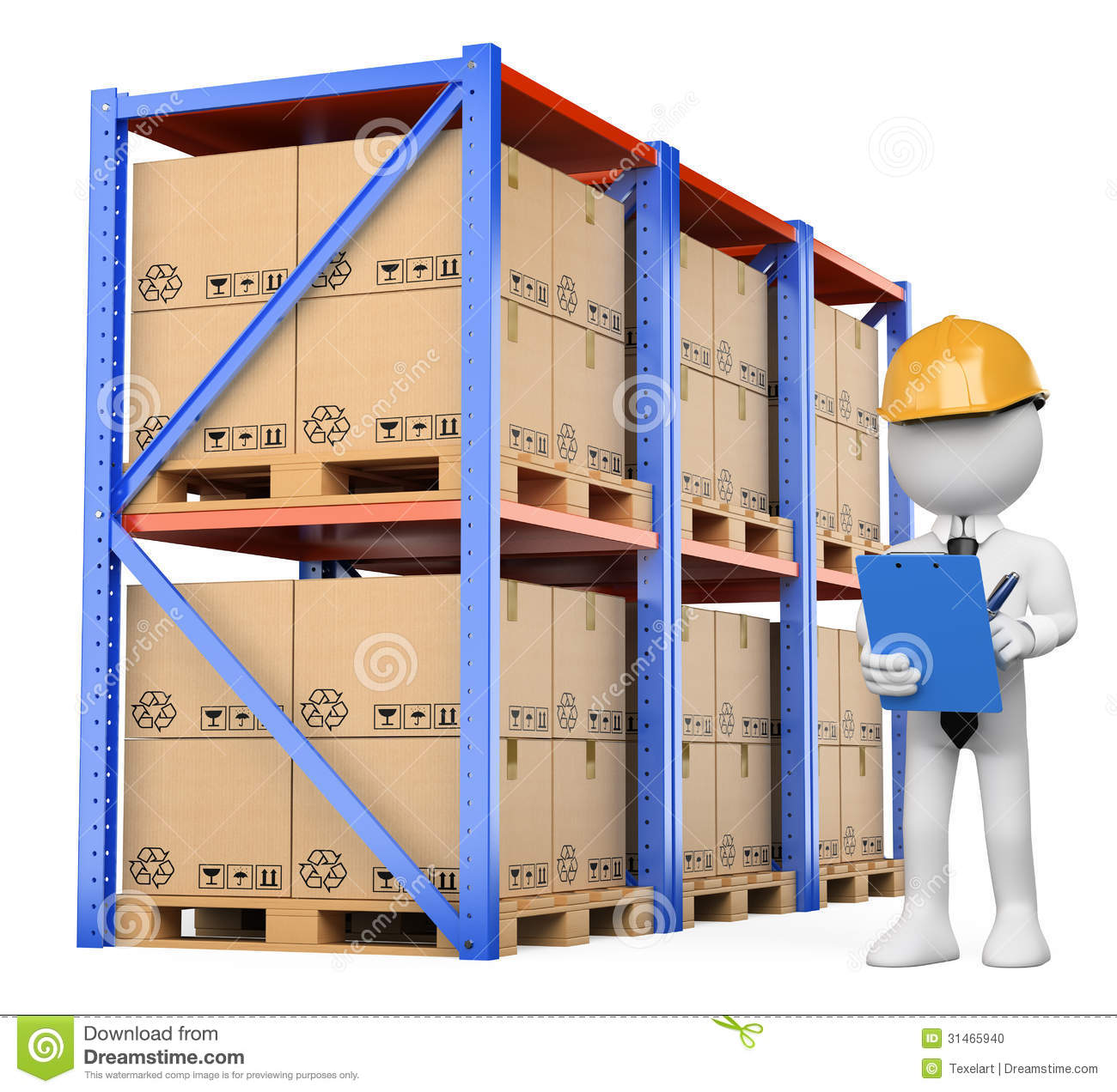3d White People Warehouse Manager Stock Photo Image