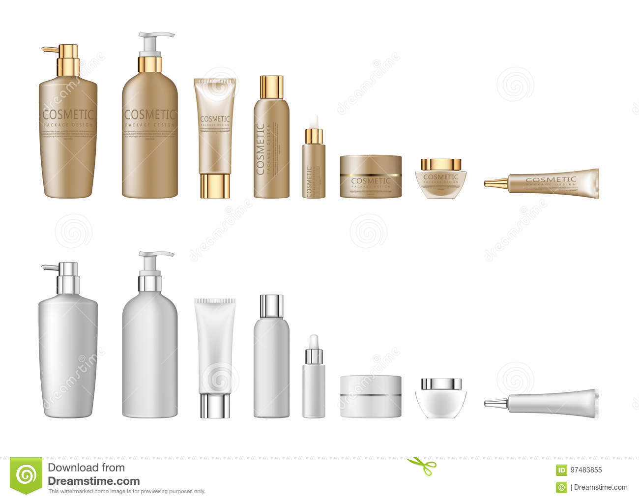 3d white realistic cosmetic package set empty tubes on white background vector illustration