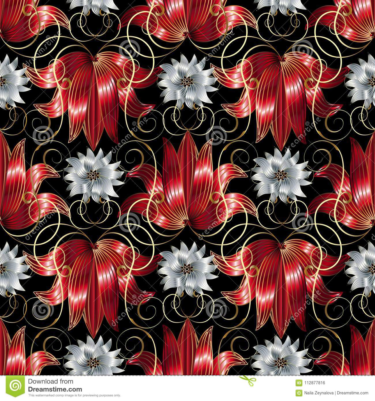 3d White And Red Flowers Seamless Pattern Vector Floral Black B