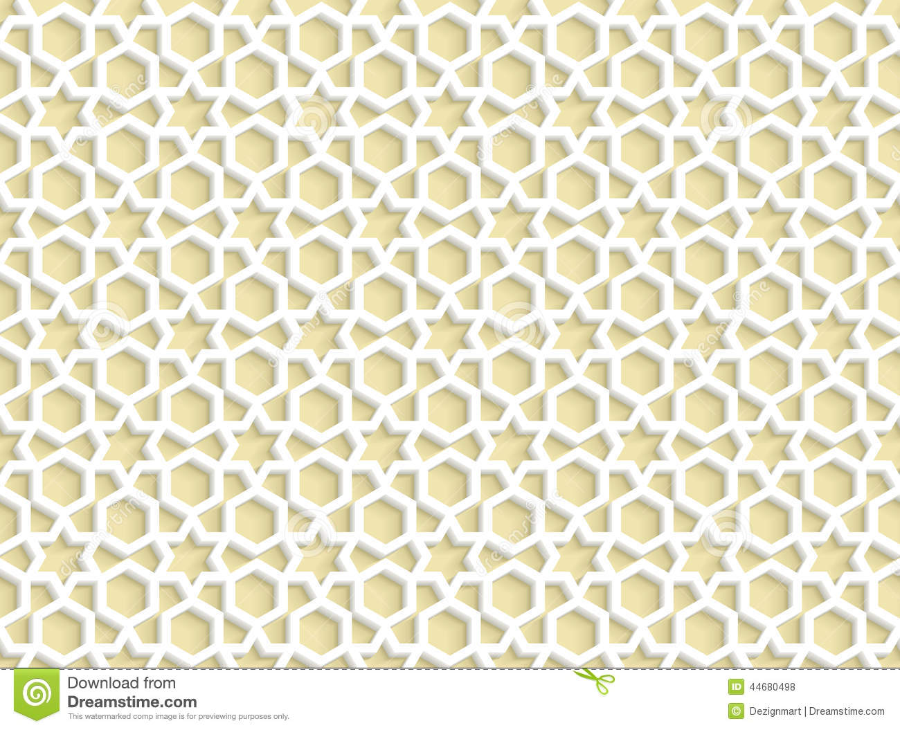 3d White Seamless Pattern In Arabic Style Stock