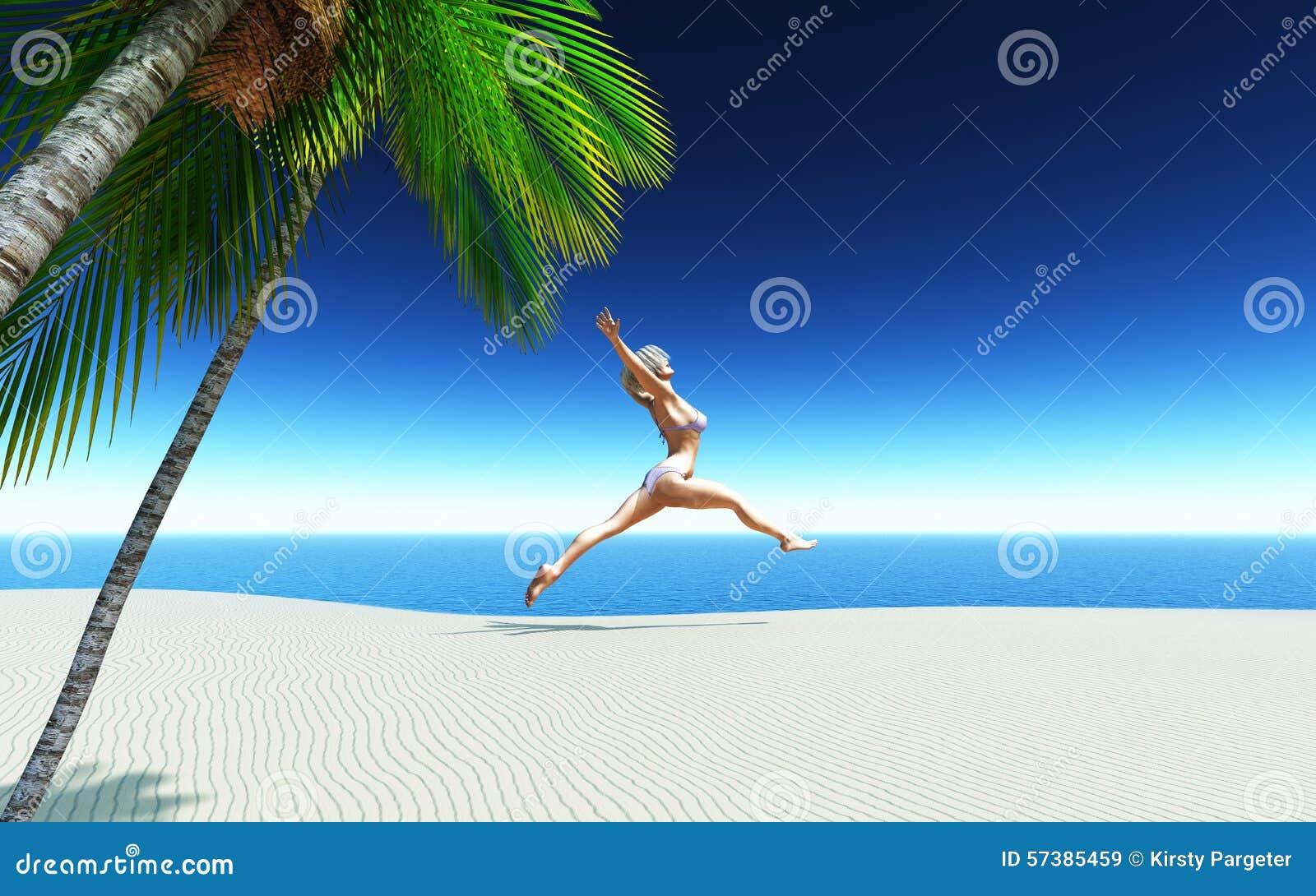 3D wijfje die in bikini op een tropisch strand springen