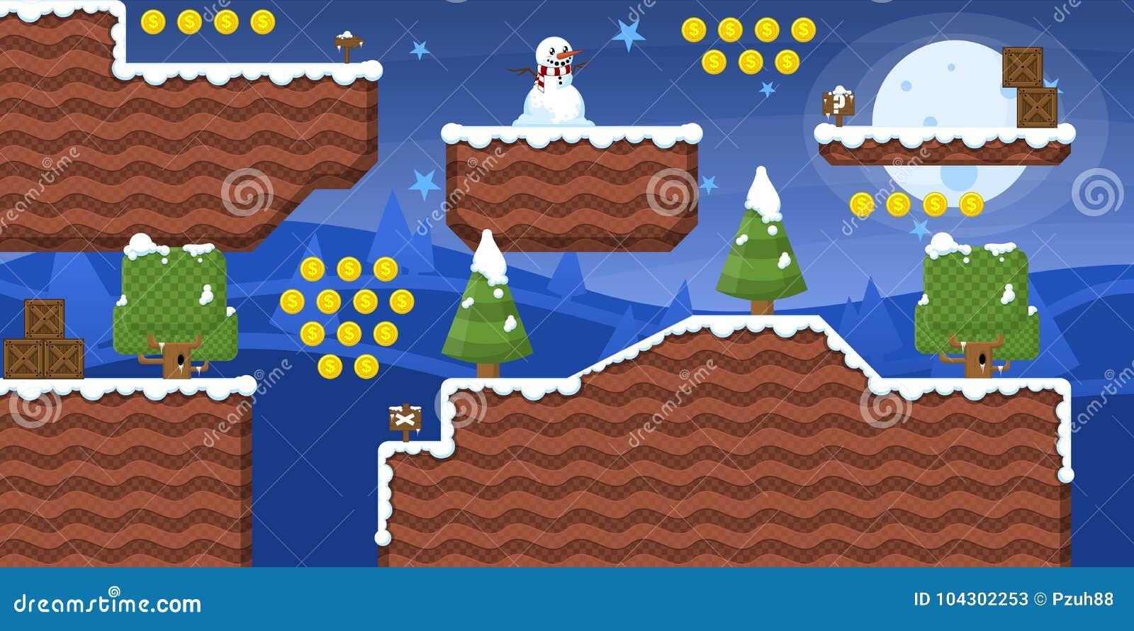 2D Winter Game Tileset Pack Stock Vector - Illustration of