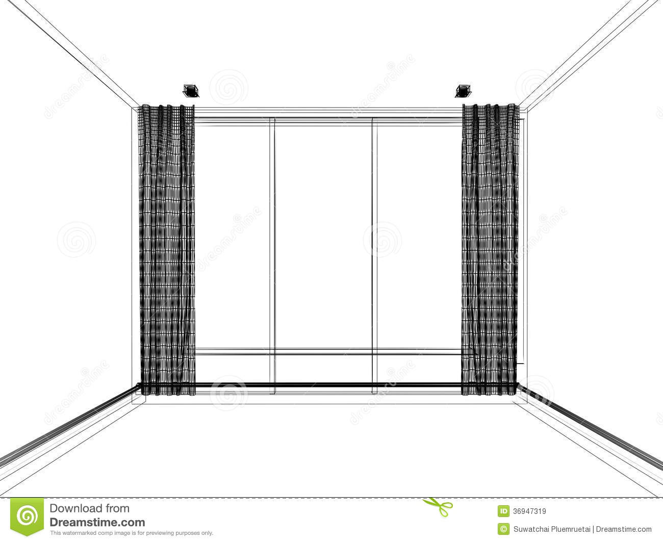 3d Wire Frame Of Empty Room Stock Illustration