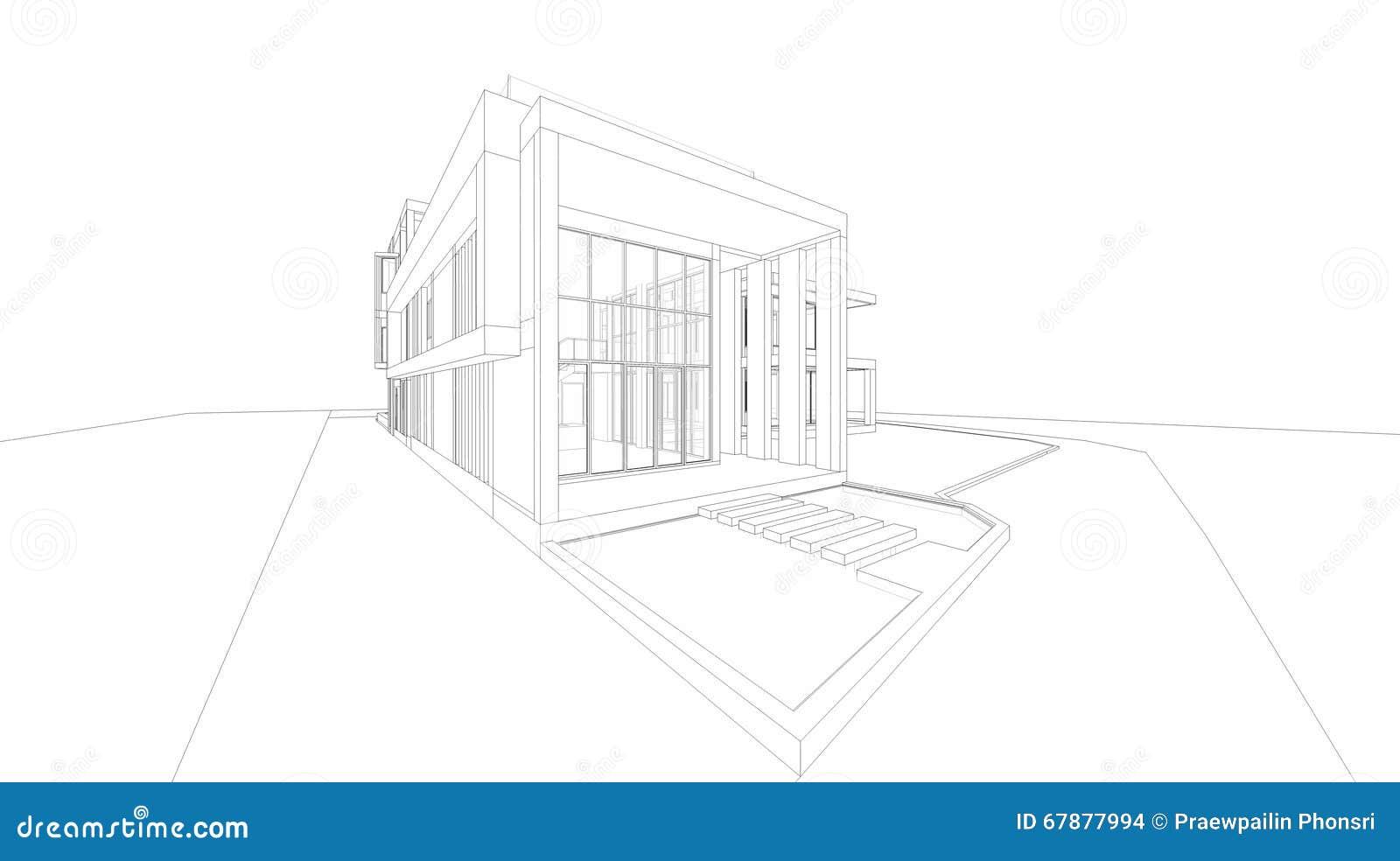 3D wireframe透视回报房子
