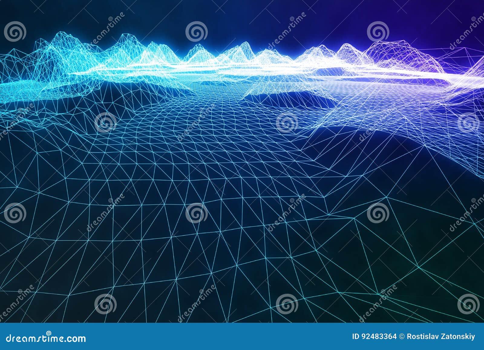 3D wireframe ilustracyjny abstrakcjonistyczny cyfrowy krajobraz Cyberprzestrzeni krajobrazowa siatka 3d technologia abstrakcjonis