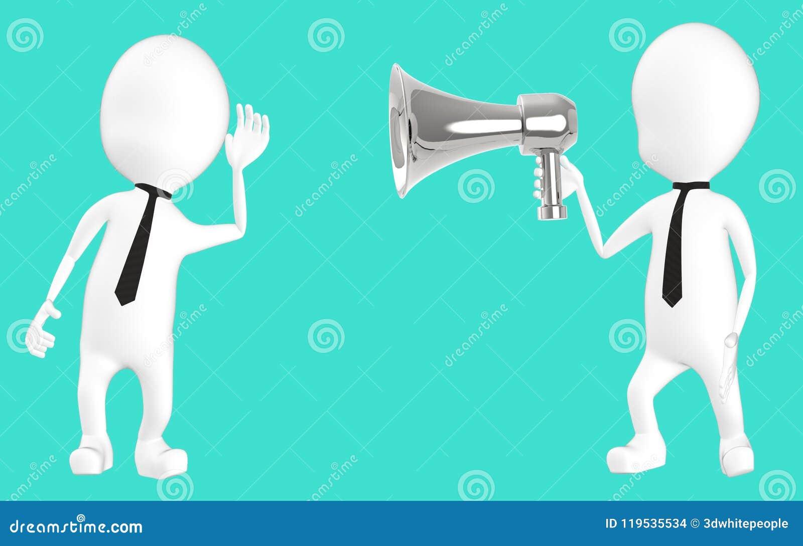 3d wit karakter die aan luide hailer luisteren