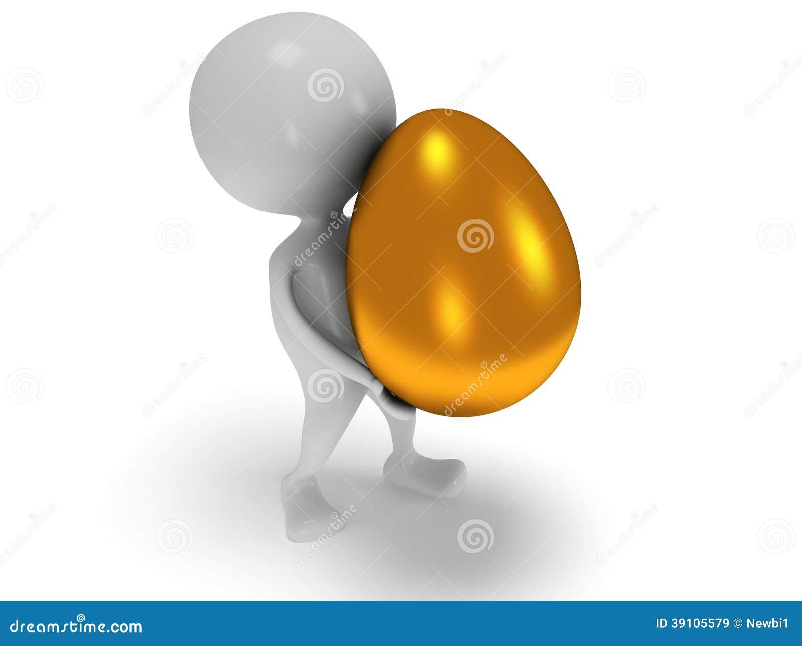 3d witte mens draagt gouden ei