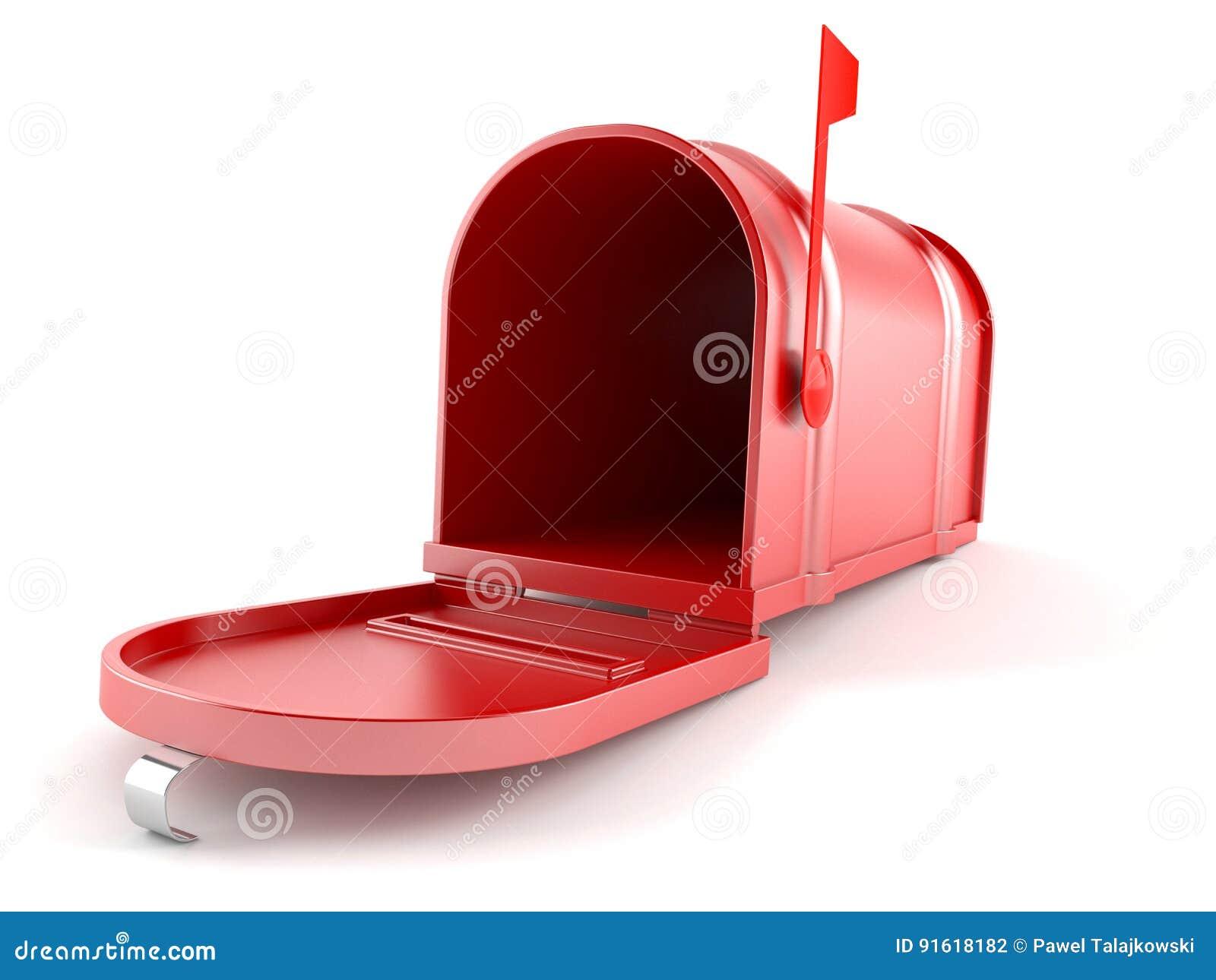 3d wizerunek odizolowywająca skrzynka pocztowa otwarta