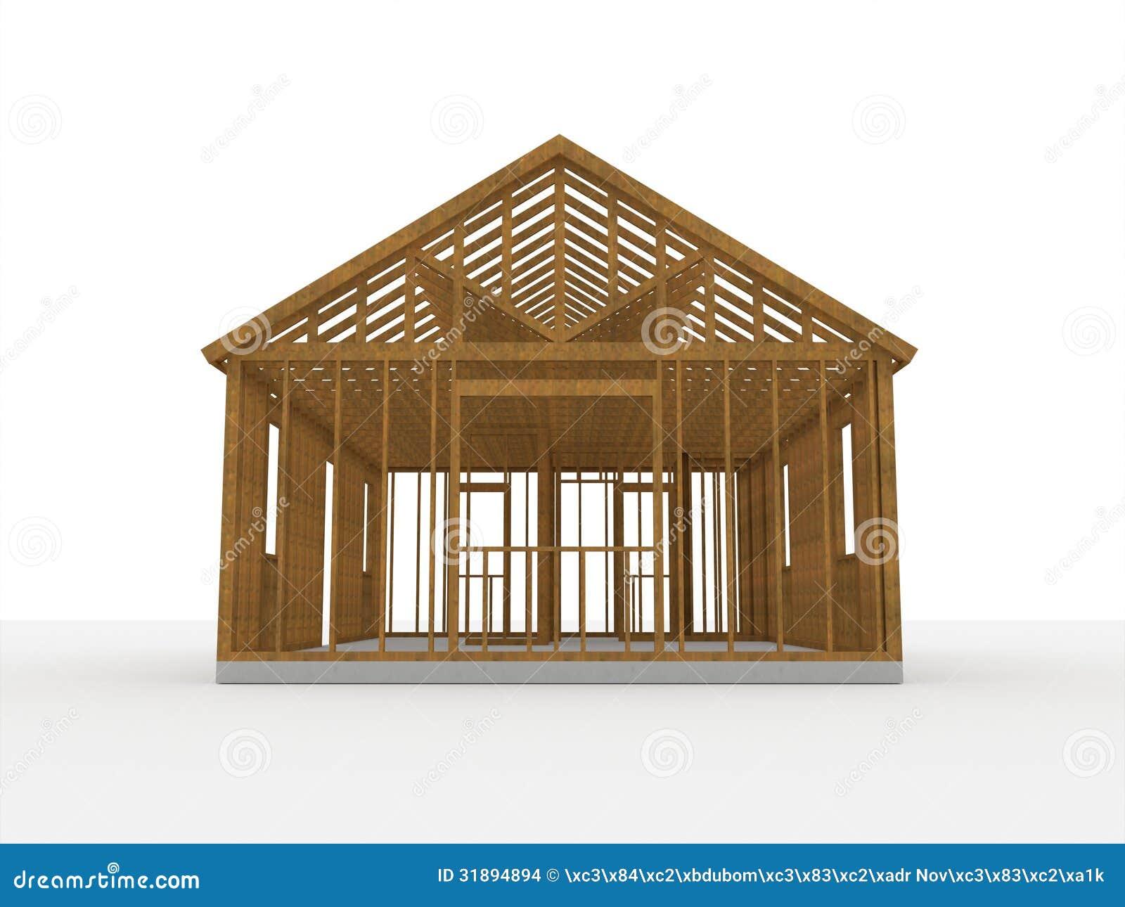 3d wood construction house stock illustration - Casas de madera balcan house ...