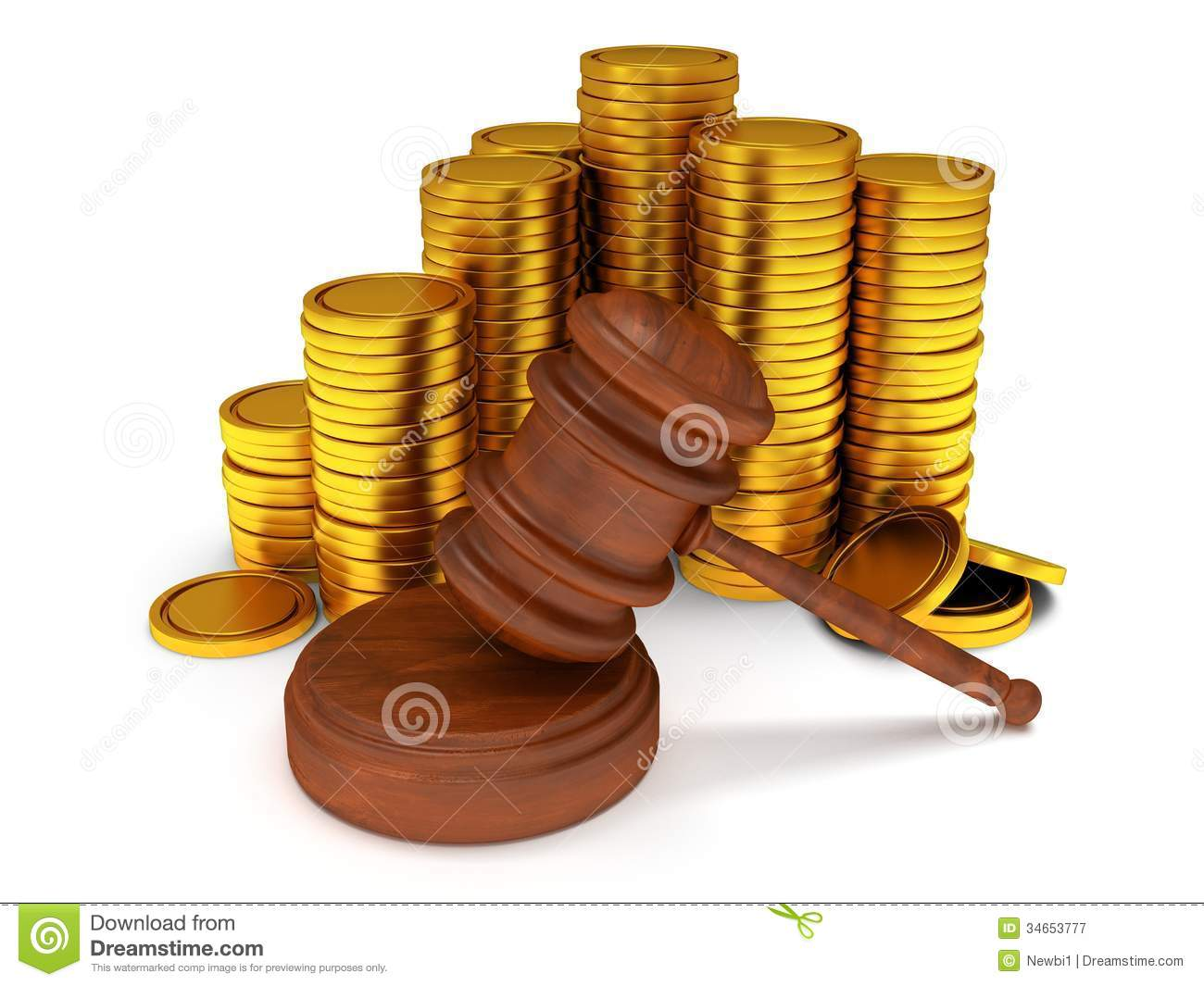 3D Wooden Gavel. Judge, Law, Auction Concept Stock ...