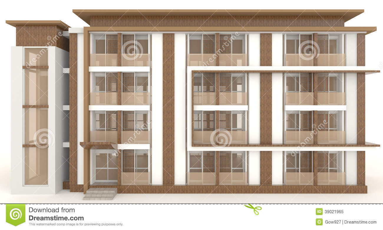 3D Wooden Office Building Exterior In White Stock