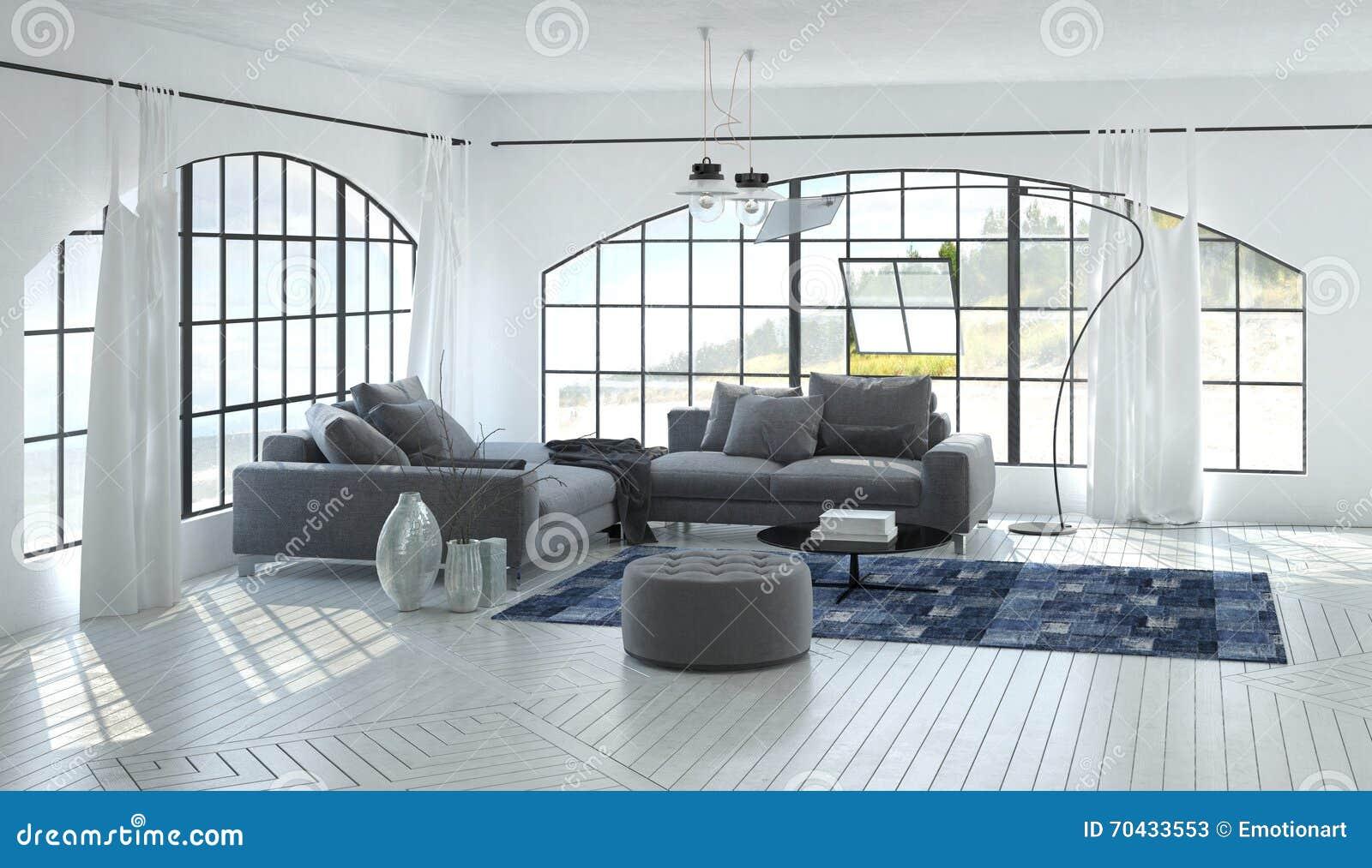 Lichte Luchtige Woonkamer : D woonkamerbinnenland van luchtige woonkamer stock afbeelding