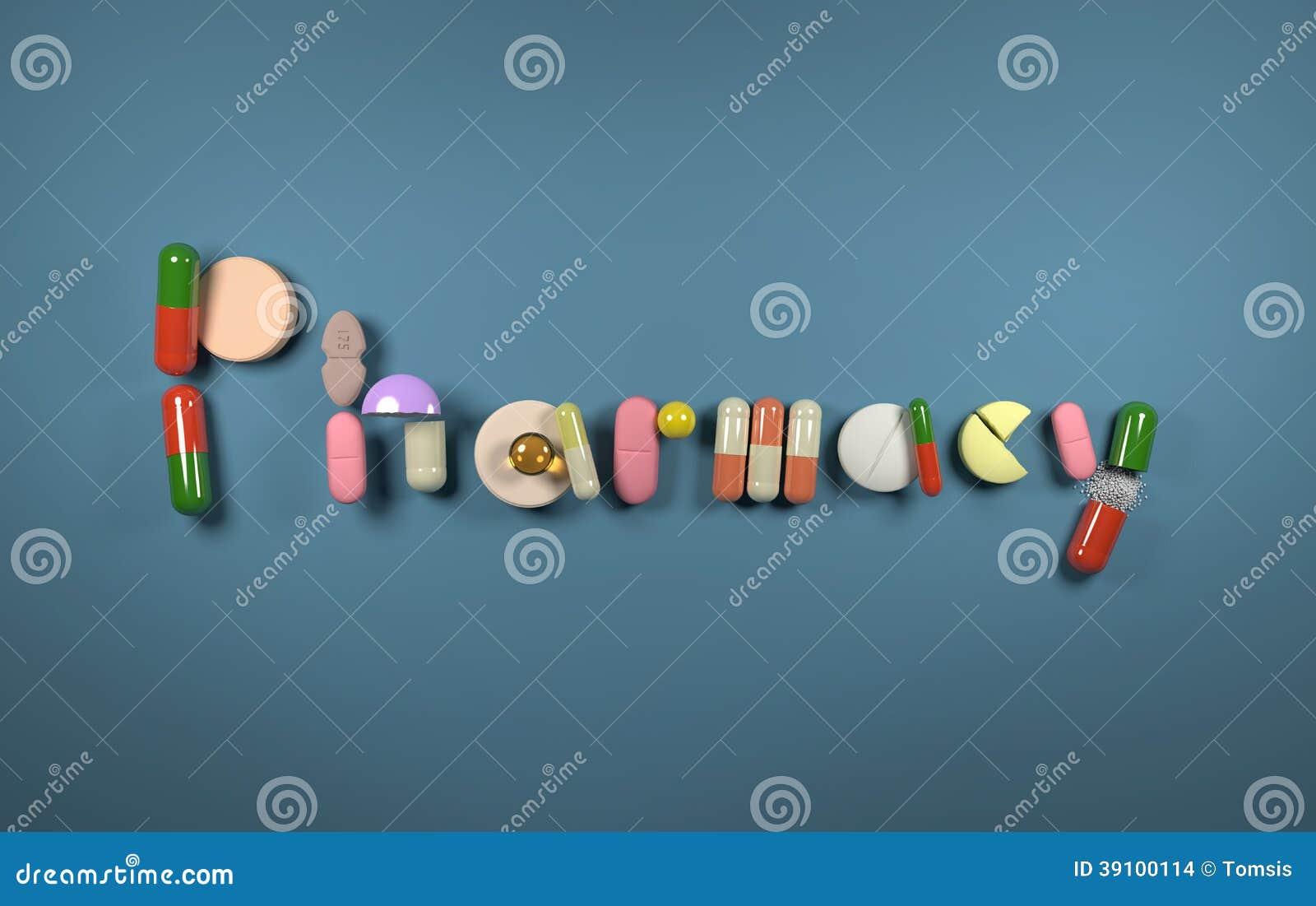 3D woordapotheek van pillen wordt gevormd die