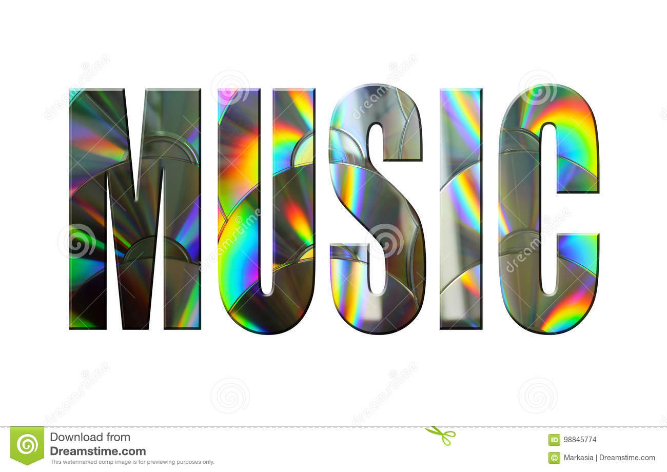 3D the word `music` made of music discs on a white