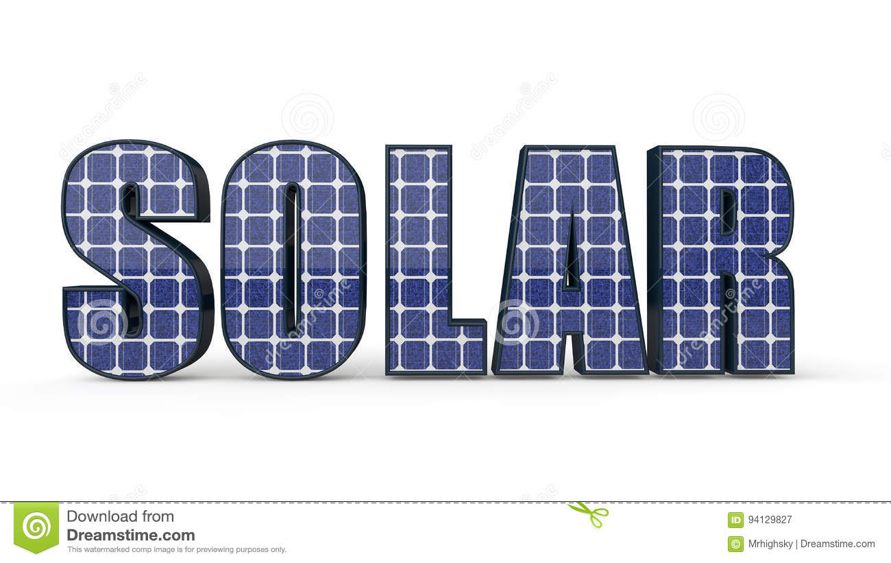 3d Word Solar With Photovoltaic Cells Stock Illustration