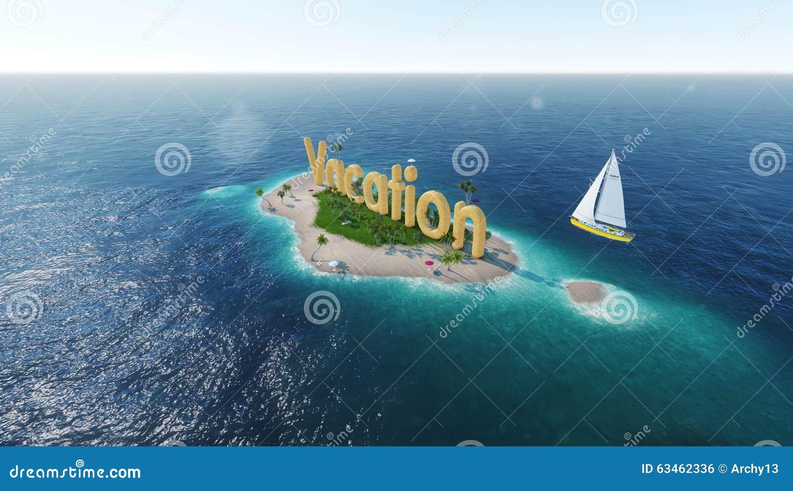 Tropical Island Sun: Sea, Tropical Island, Palm , Sun 3D Illustration Royalty