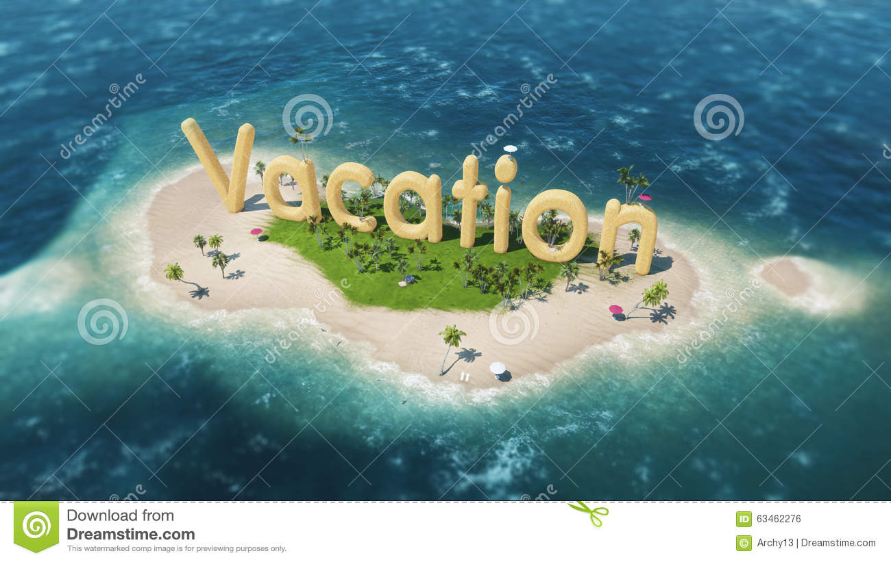 3d word vacation on tropical paradise island with palm trees an sun tents.