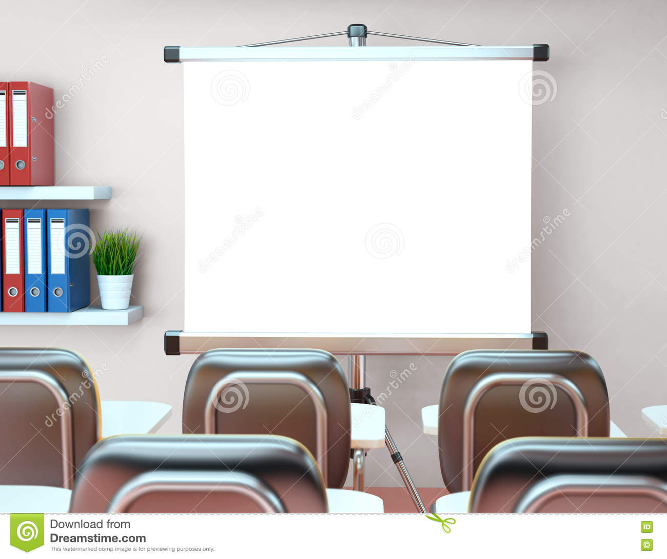 3D Workshop With Blank Projector Screen. Office. Mockup Stock ...
