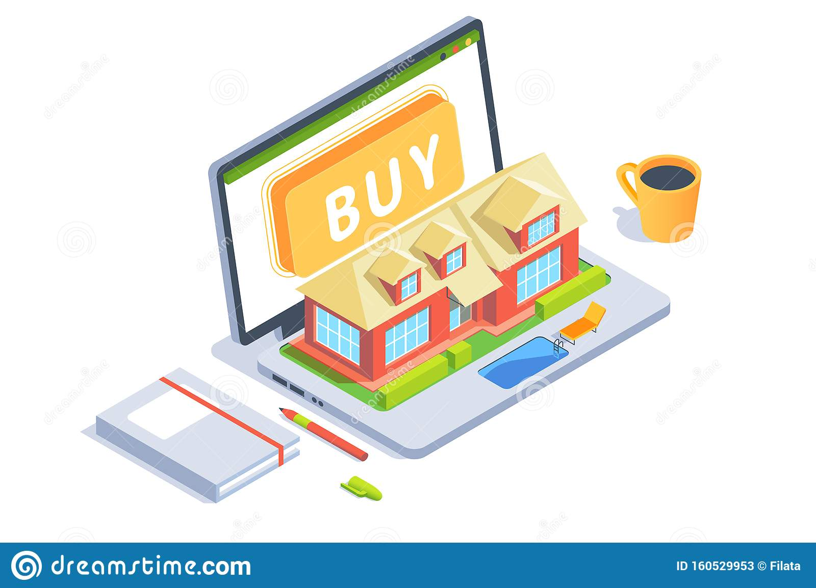 3d Workspace With Tool Laptop With Layout Of House With Swimming Pool Stock Illustration Illustration Of Element Advertising 160529953
