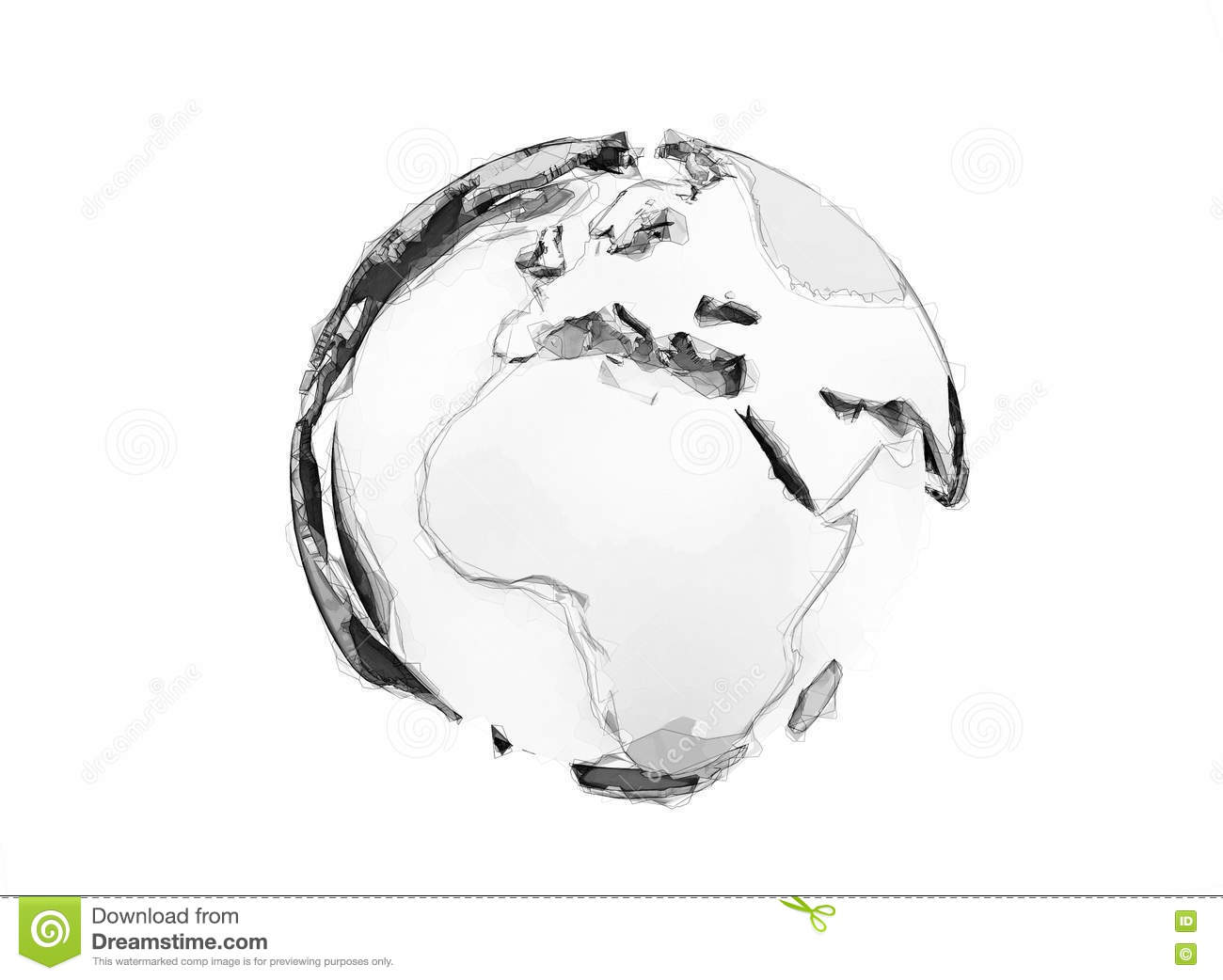 3d world globe digital pencil sketch