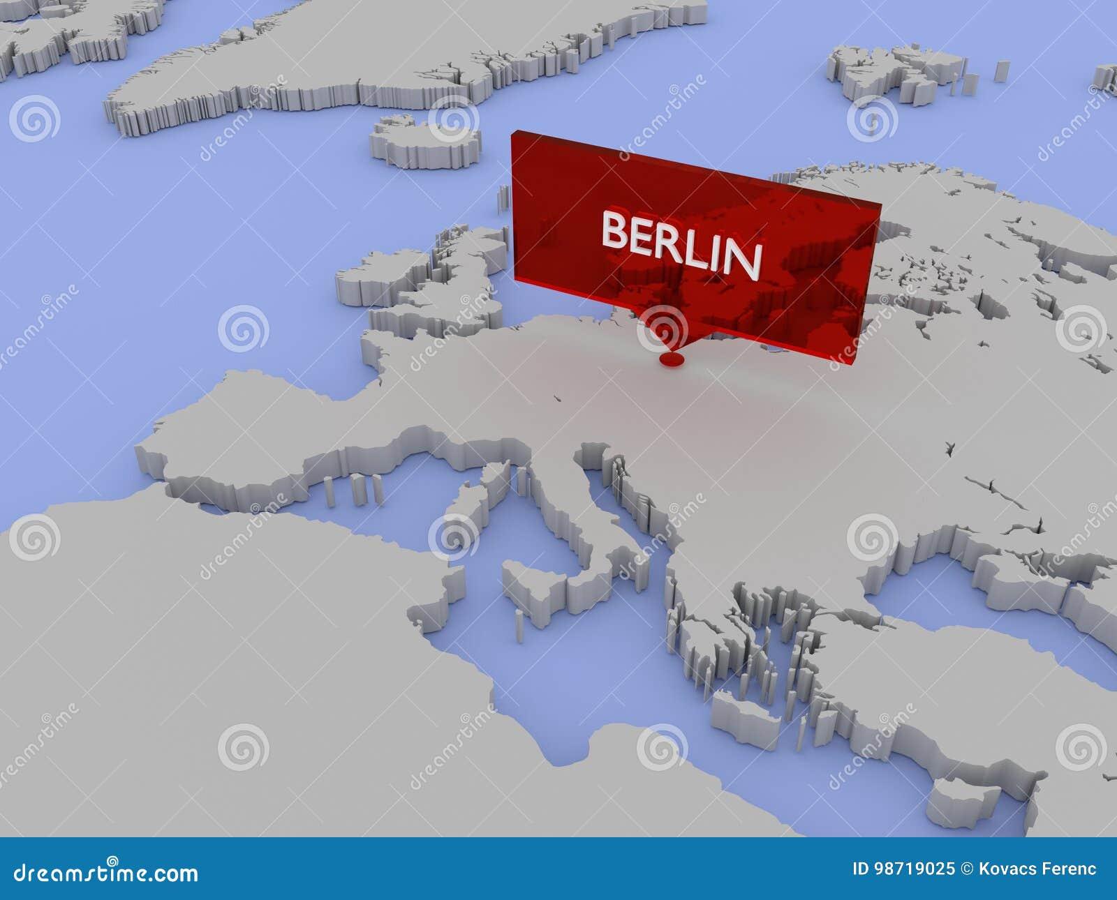 3d World Map Illustration - Berlin Stock Illustration - Illustration ...