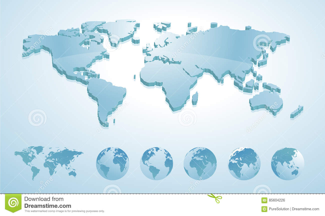 3d world map illustration with earth globes showing all continents royalty free vector download 3d world map illustration with earth globes showing all continents gumiabroncs Image collections