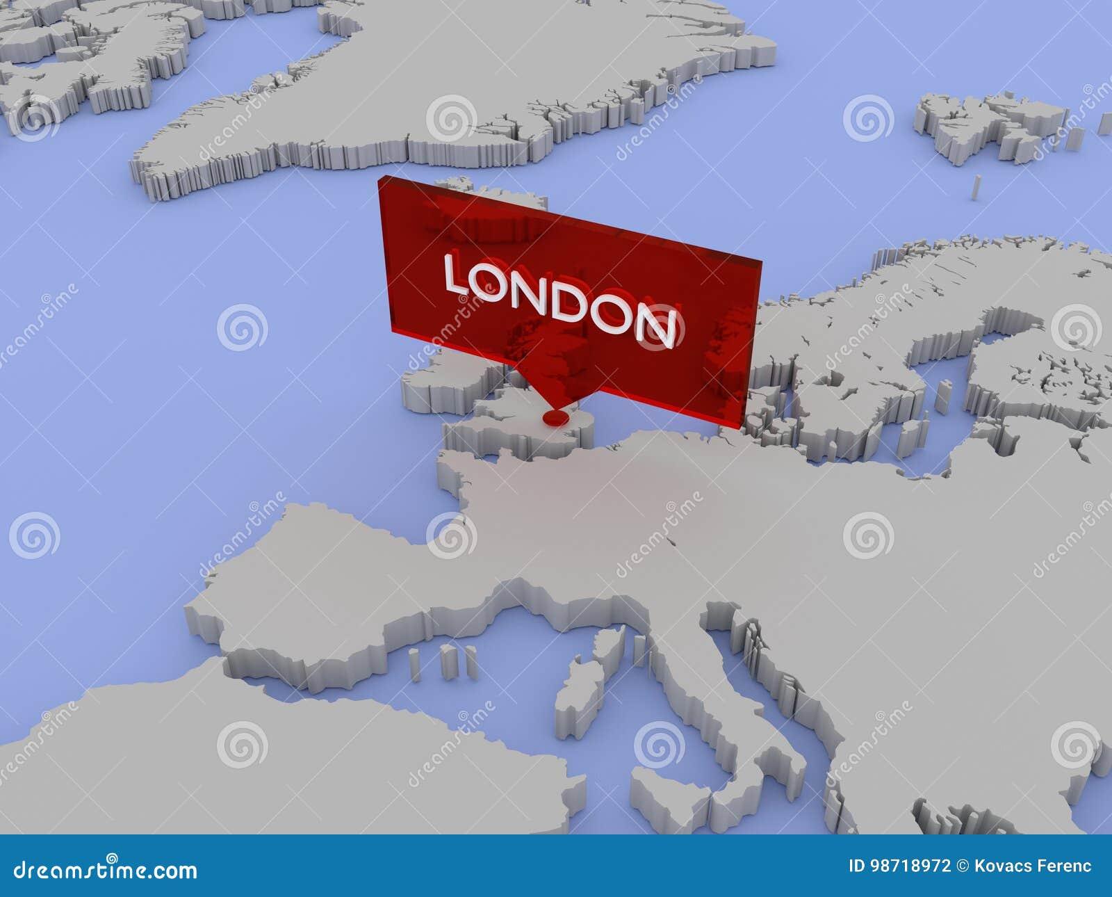 3d World Map Illustration London England Stock Illustration