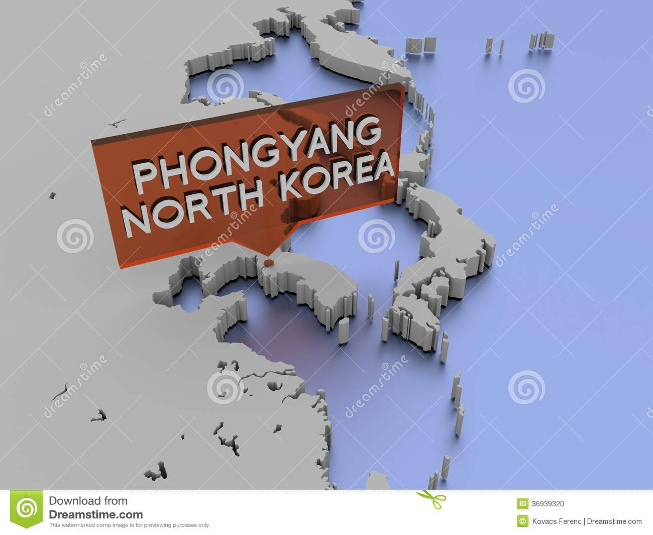 3d World Map Illustration - Phongyang, North Korea Stock Photo ...