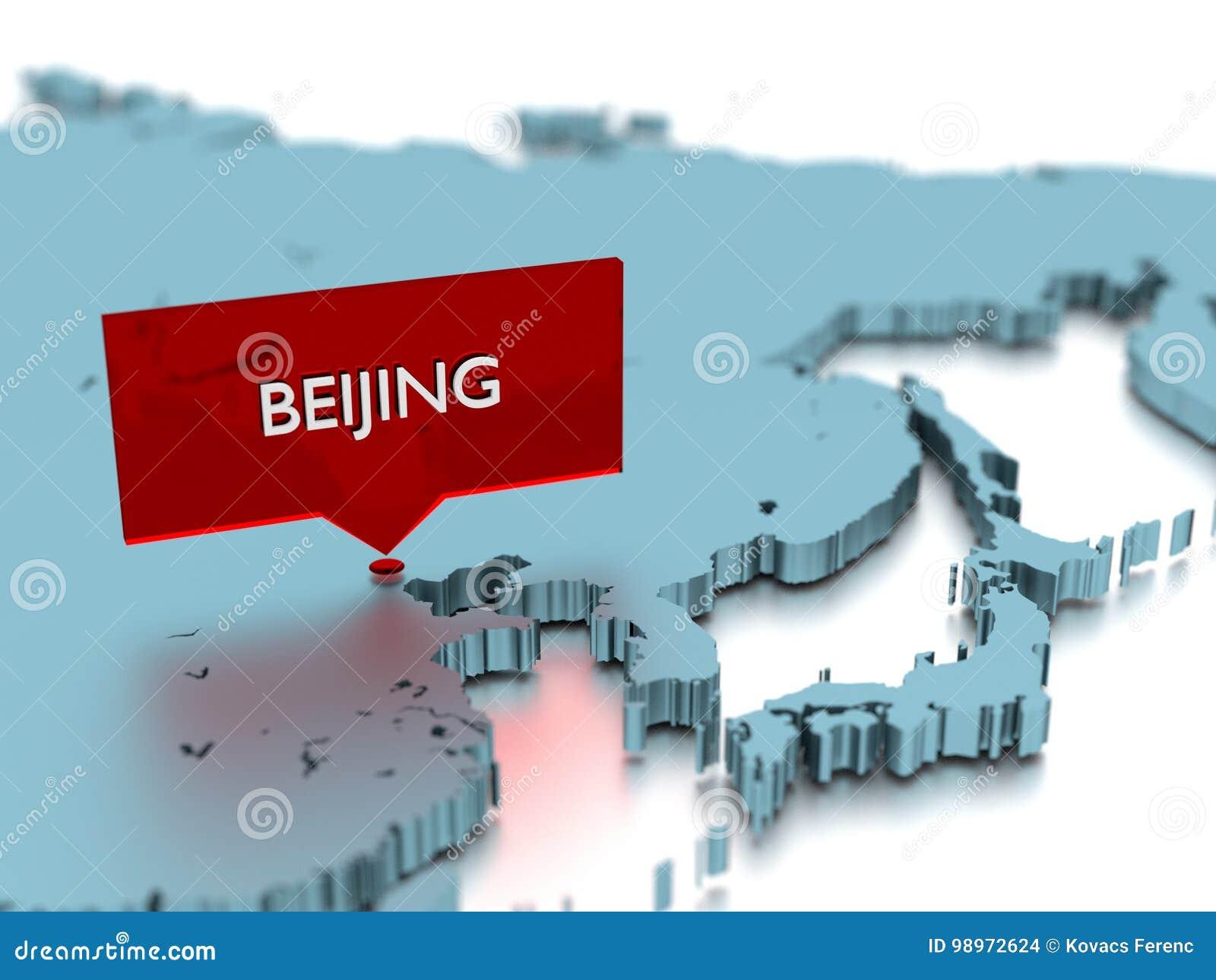 3d World Map Sticker City Of Beijing Stock Illustration