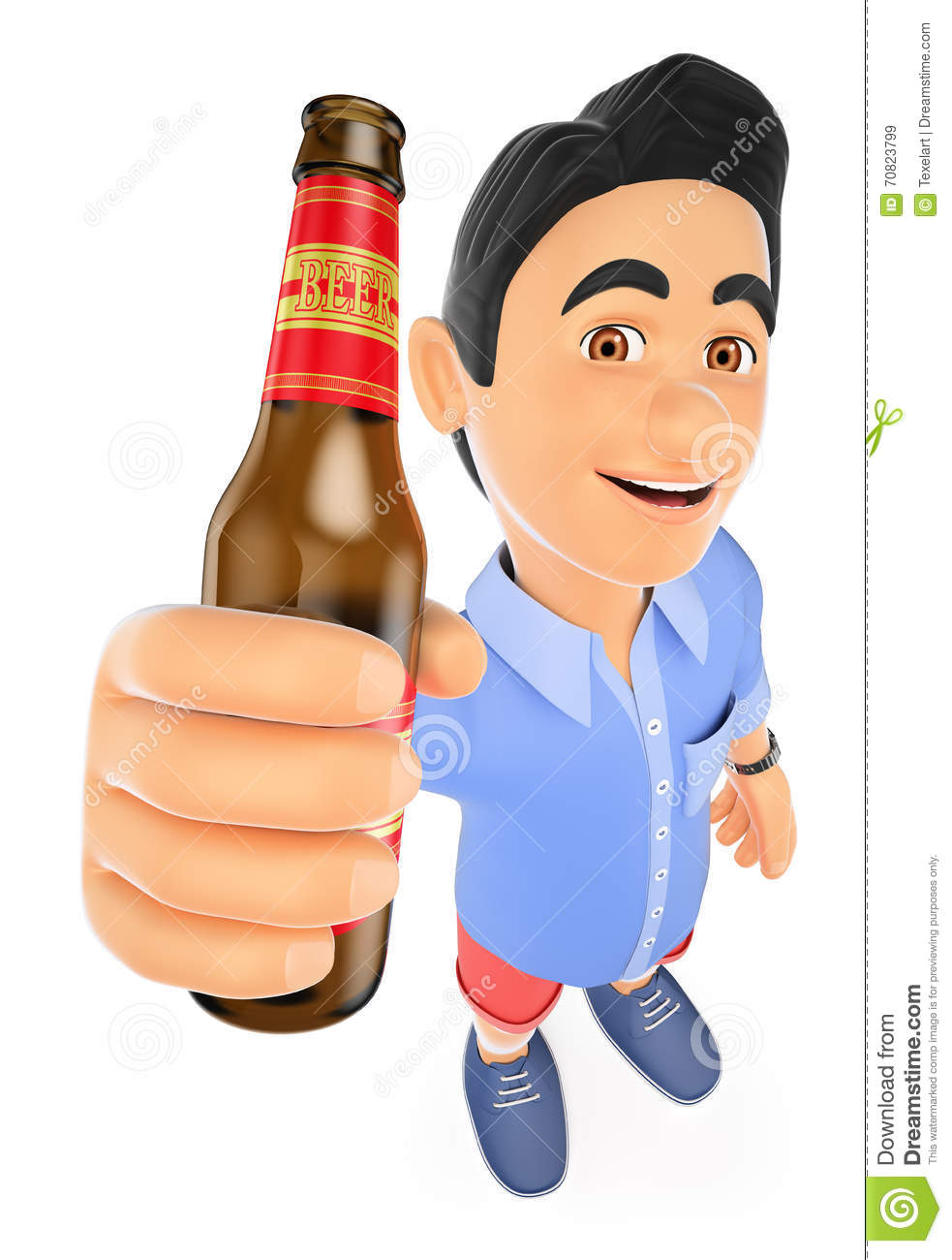 3D Man Drunk With Bottle Royalty-Free Stock Image ...