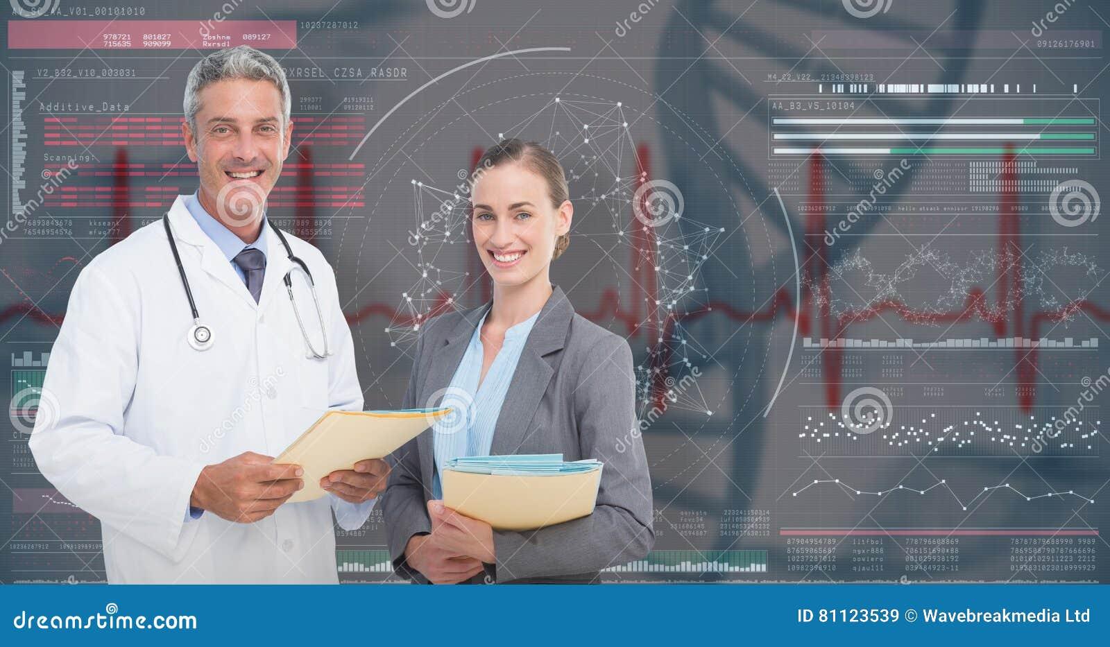 3D Złożony wizerunek portret samiec i kobiety lekarki z raportami medycznymi