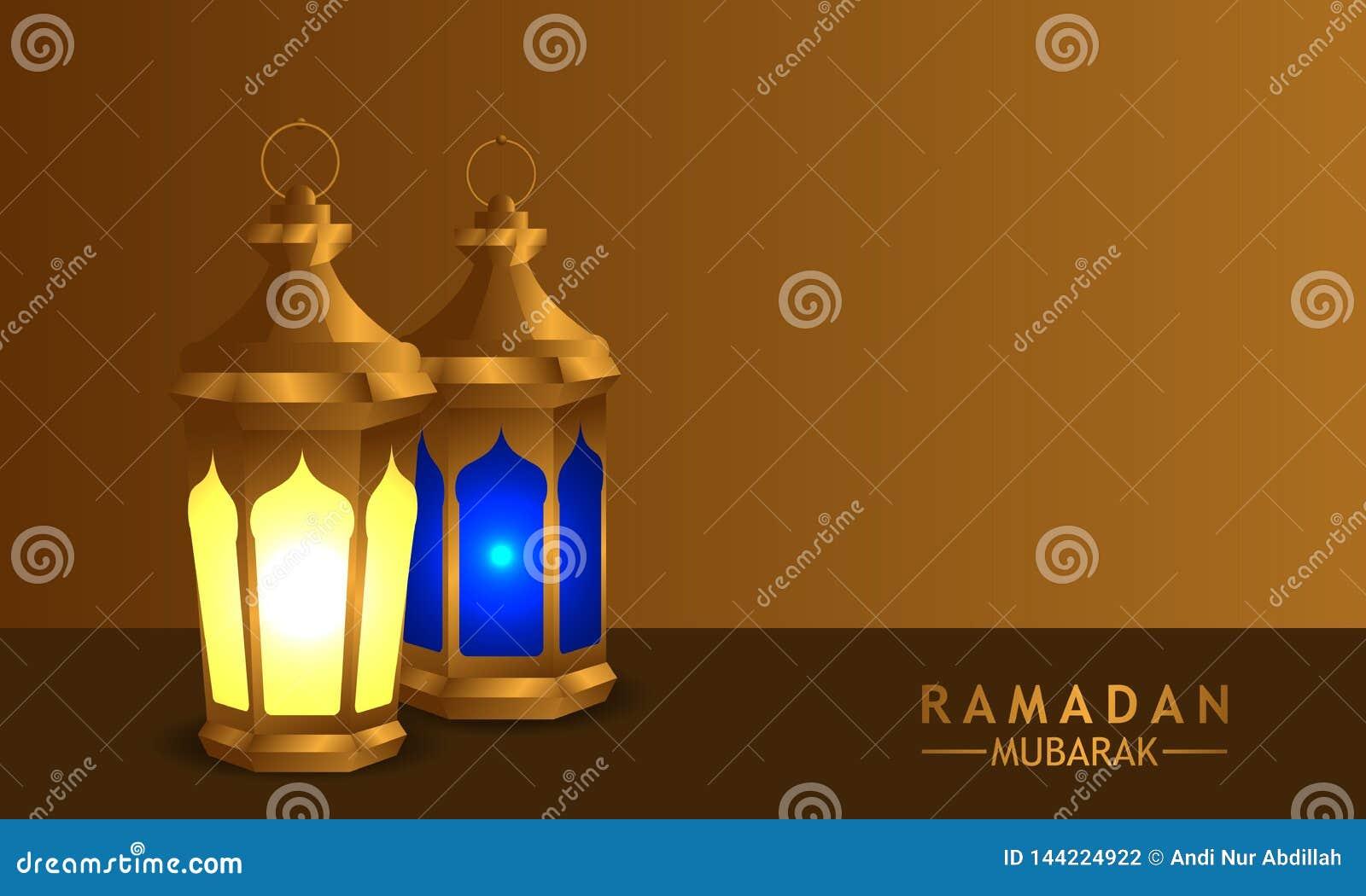 3D złota realistyczna fanous arabska latarniowa lampa z złocistym tłem