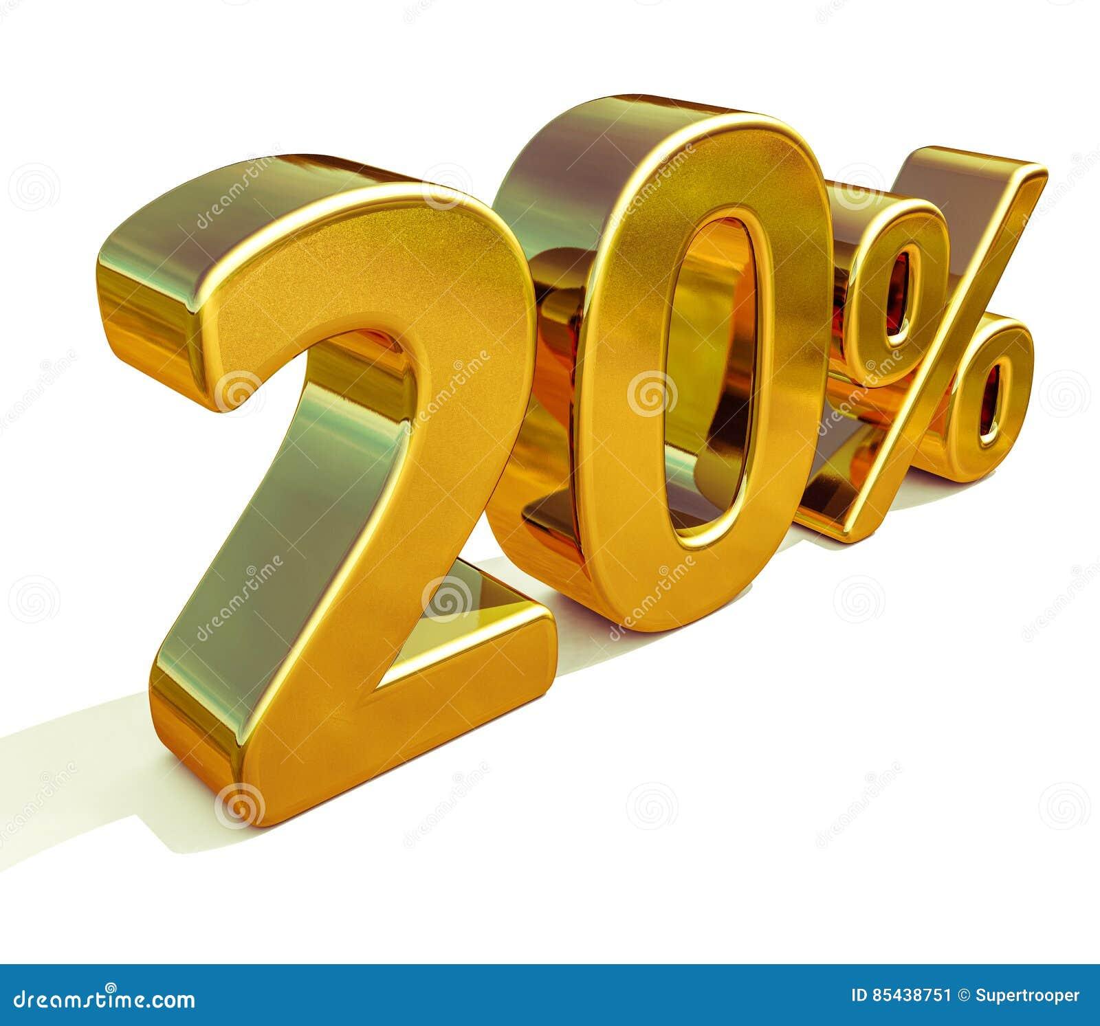 3d 20 złoto Dwadzieścia procentów rabata znak