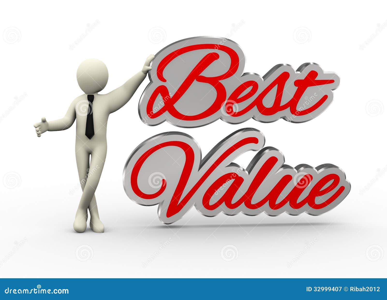 3d zakenman met beste waarde