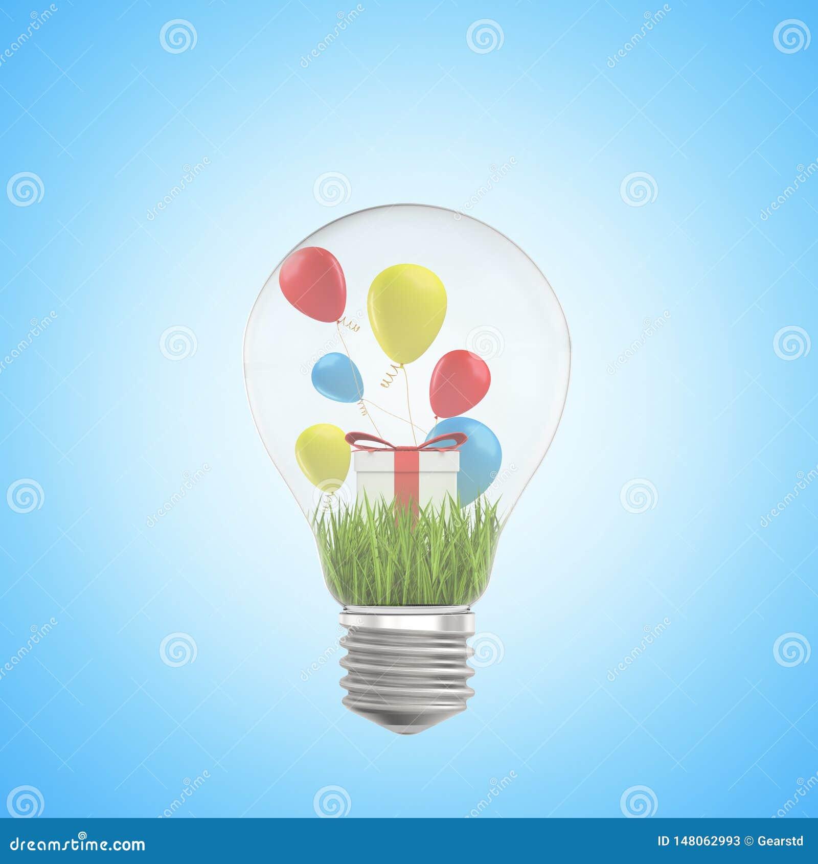 3d zbliżenia rendering lightbulb, zielona trawa, biały prezenta pudełko i kolorowi balony wśrodku go, na bławym