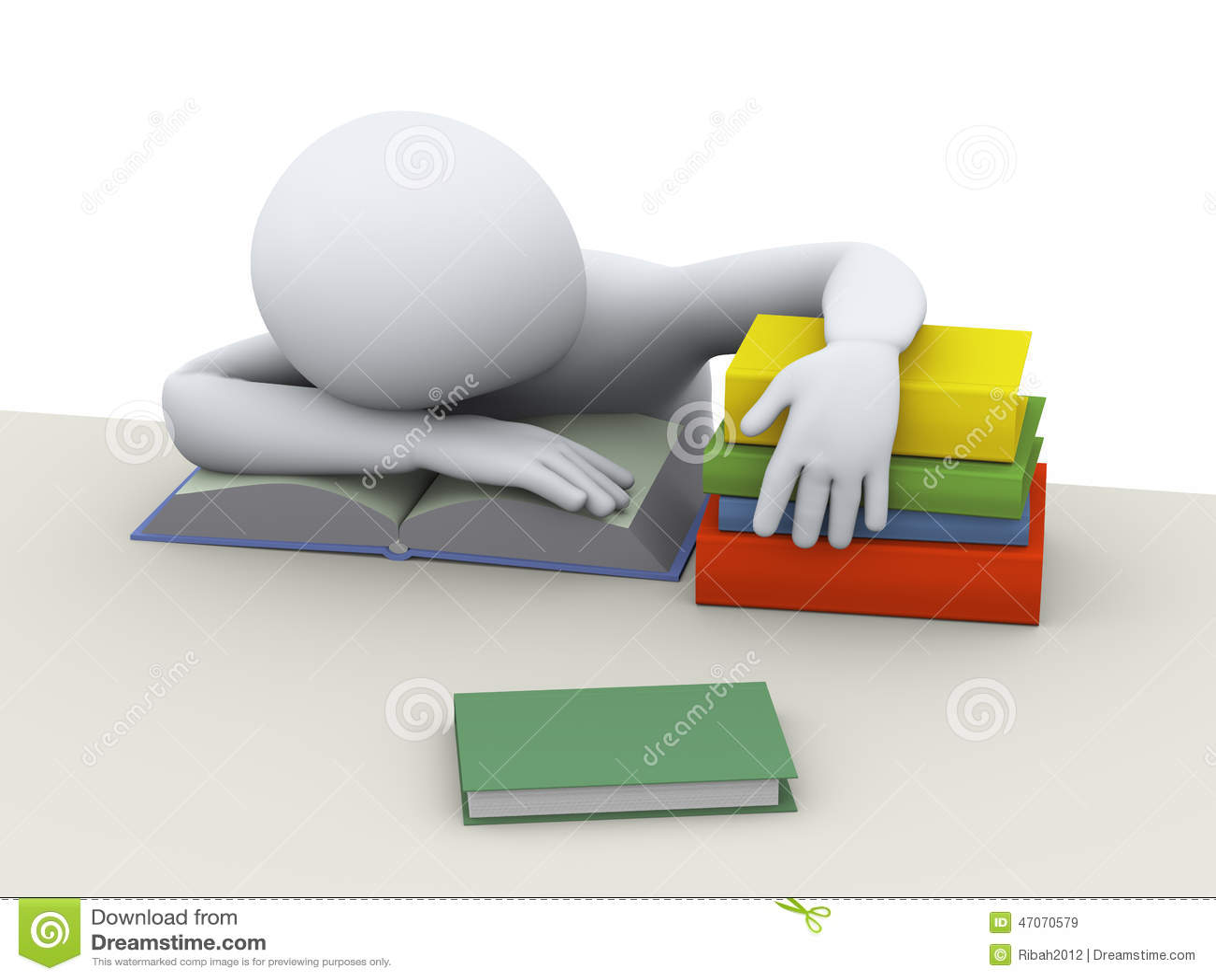 3d zmęczony sypialny uczeń
