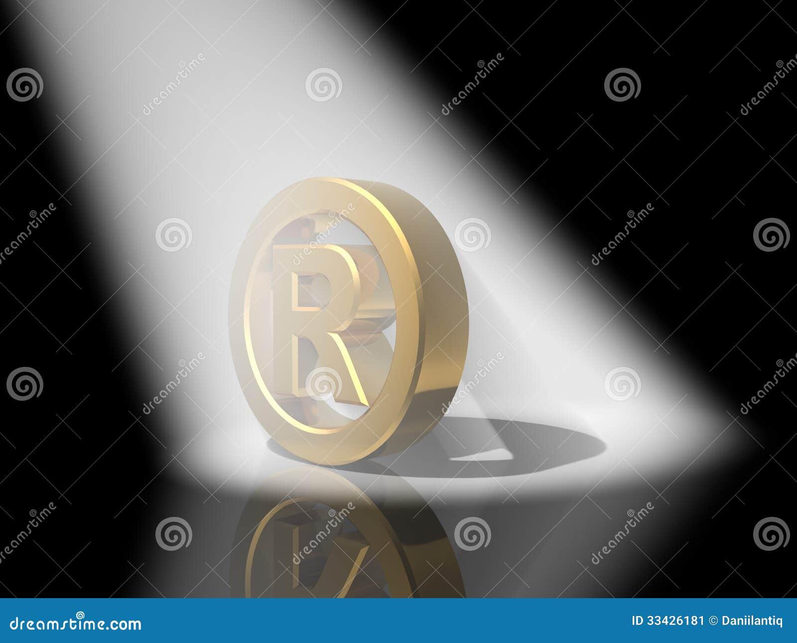 3D znaka firmowego złoto
