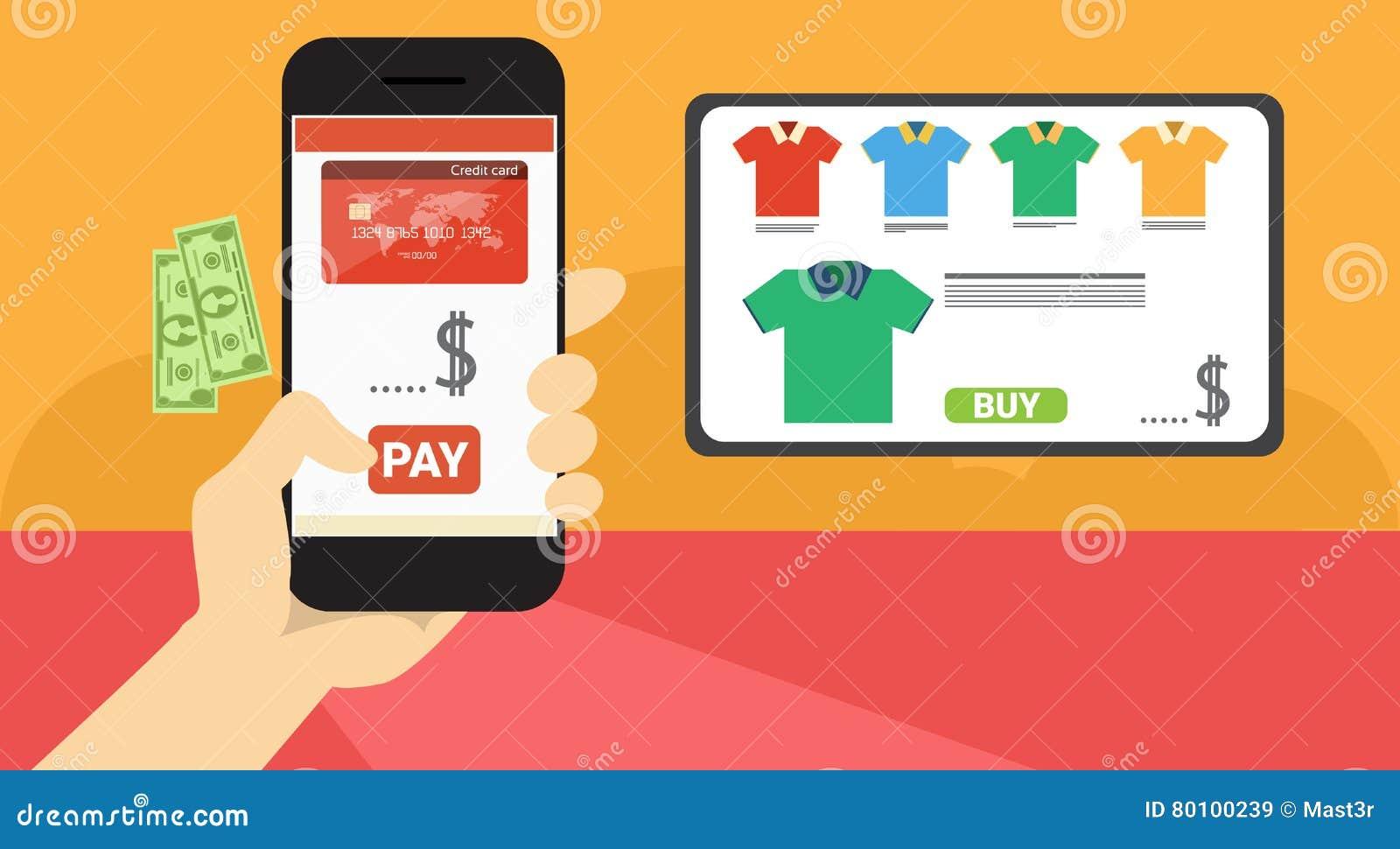 Da aplicação esperta do telefone da pilha da posse da mão bandeira em linha da compra
