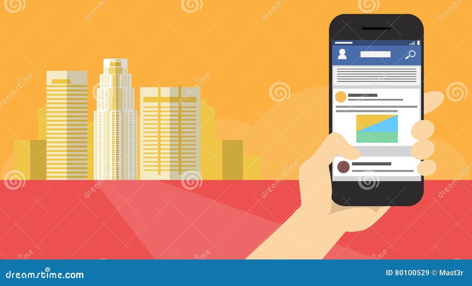 Da aplicação esperta do telefone da pilha da posse da mão bandeira em linha de uma comunicação da rede do bate-papo da mensagem