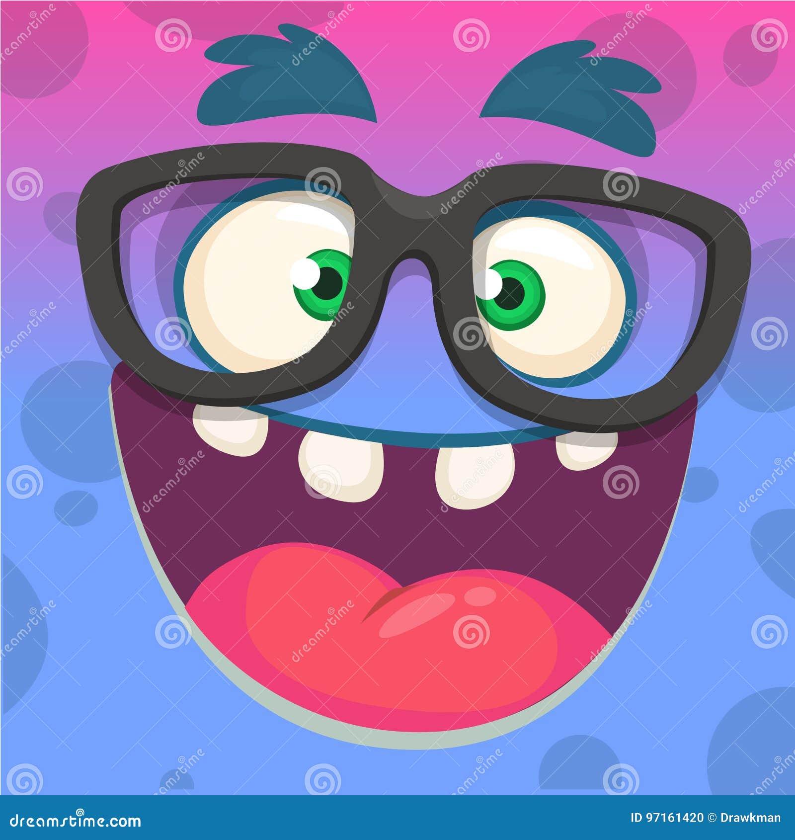 Da cara esperta dos desenhos animados vidros vestindo engraçados e inteligente do monstro Ilustração do vetor