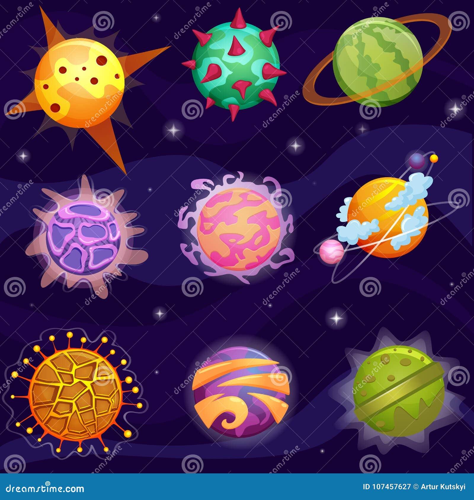 Da fantasia bonito dos desenhos animados do vetor os planetas fantásticos ajustaram-se no fundo das estrelas da galáxia