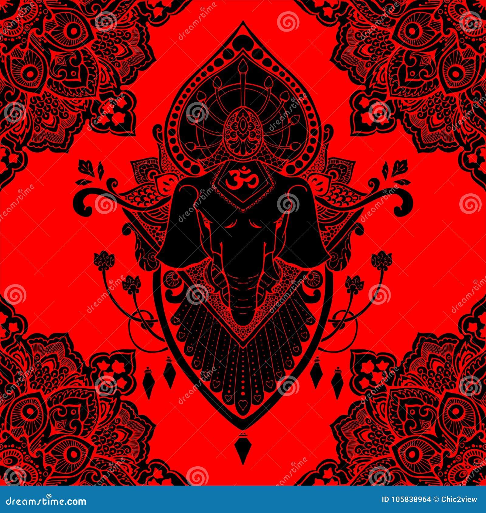 Da Ilustracao Oriental Da Tatuagem Do Desenho Da Mandala De