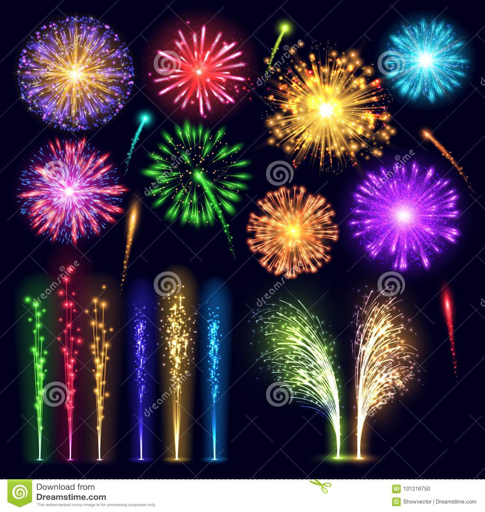 Da luz realística da explosão da noite do evento do feriado da celebração do estilo do fogo de artifício a ilustração festiva do