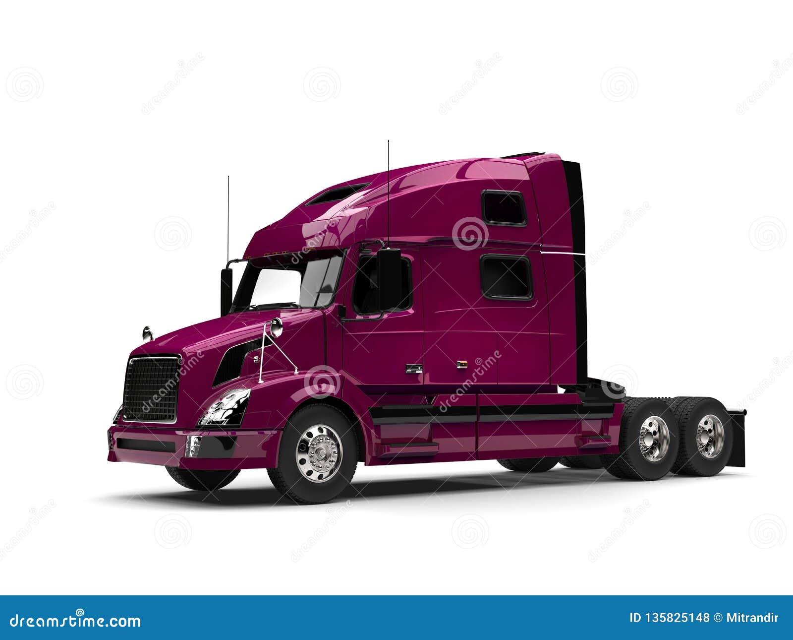 Da magenta caminhão de reboque metálico semi - vista lateral