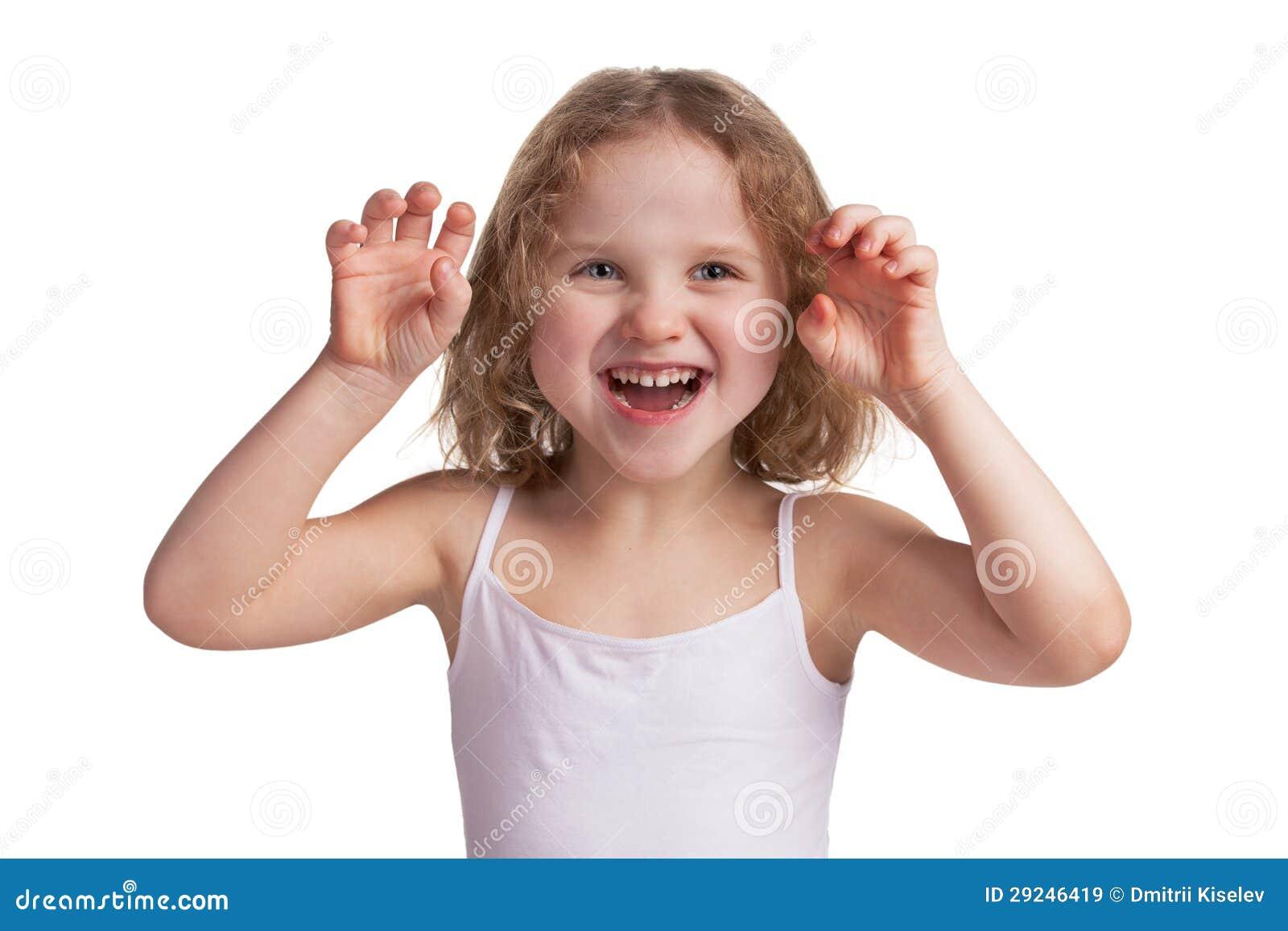 Download Da Menina Susto Alegre Pequeno Playfully Alguém Imagem de Stock - Imagem de intimidate, girlie: 29246419