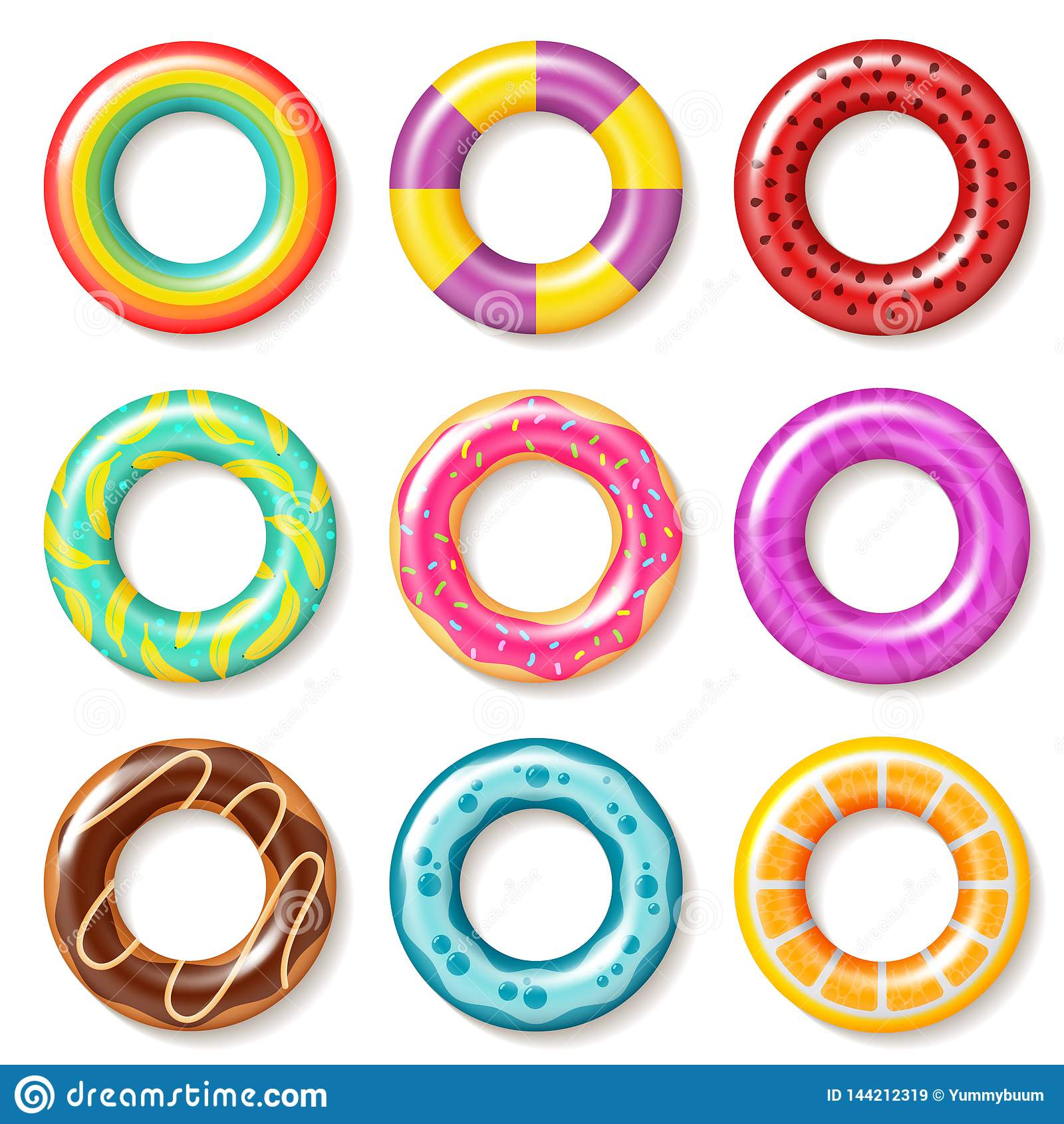 An?is da nadada As crianças coloridas nadadoras da associação da boia do anel flutuam inflatables que os brinquedos encalham o ve