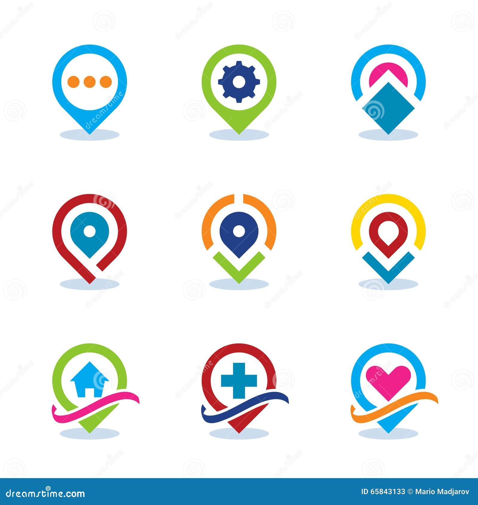 Da posição social da comunidade de Internet do localizador do mapa do App do mundo moderno ícone liso EPS10
