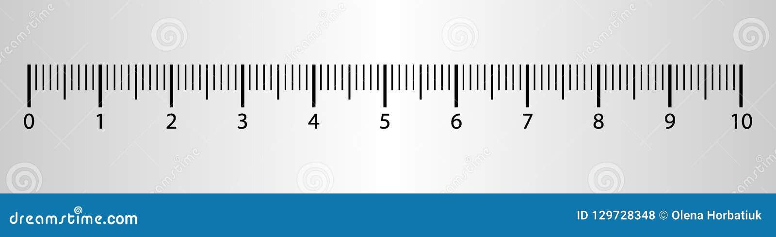 10 da régua centímetros de ferramenta da medida com escala dos números Carta do cm do vetor com sistema de grade do milímetro