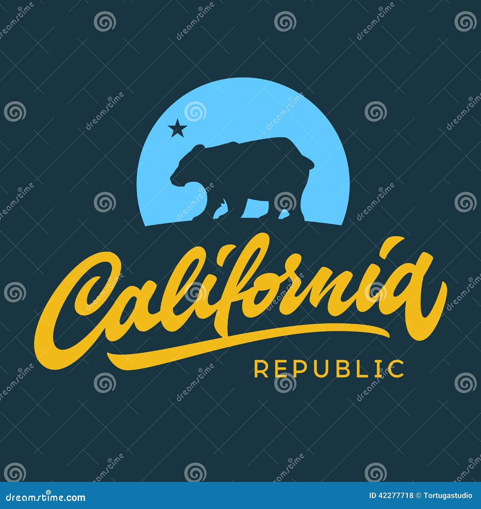 Da república retro de Califórnia do vintage fato caligráfico f do t-shirt