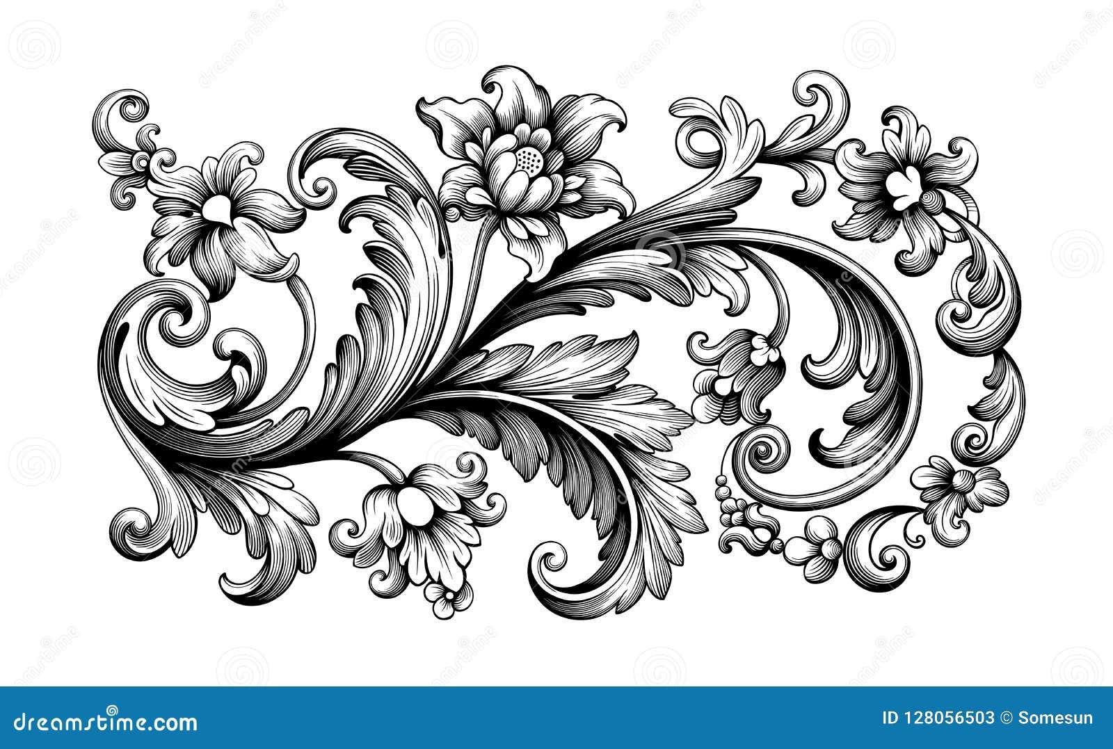 Da tatuagem cor-de-rosa retro da peônia do teste padrão do ornamento floral da beira do quadro do rolo barroco do vintage da flor